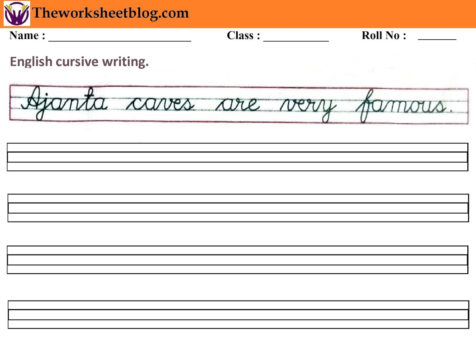 English Cursive Sentence Writing Worksheet