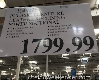 Deal for the Pulaski Furniture Leather Reclining Power Sectional at Costco