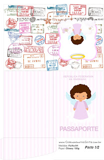 Brunette Angel Girl, Free Printable passaport.
