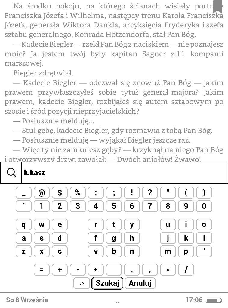 PocketBook Basic Lux 2 – wpisywanie słowa do wyszukania w tekście