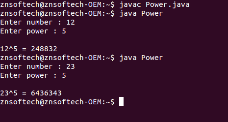 Java code to calculate power of a number using recursion