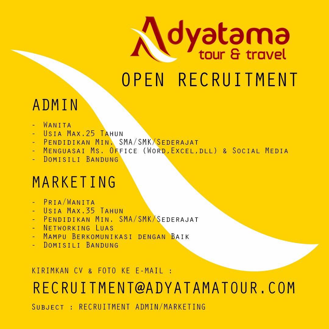 Lowongan Kerja Adyatama Tour & Travel Bandung Oktober 2016