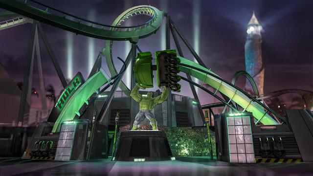 Montanha-russa do Incrível Hulk, na Universal, em Orlando.