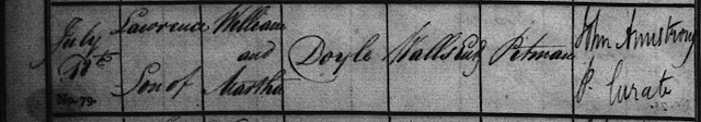 Baptismal record of Lawrence Doyle, son of William and Martha (Reay) Doyle, on 18 Jul 1830 at St. Peter's Church, Wallsend, Northumberland, England