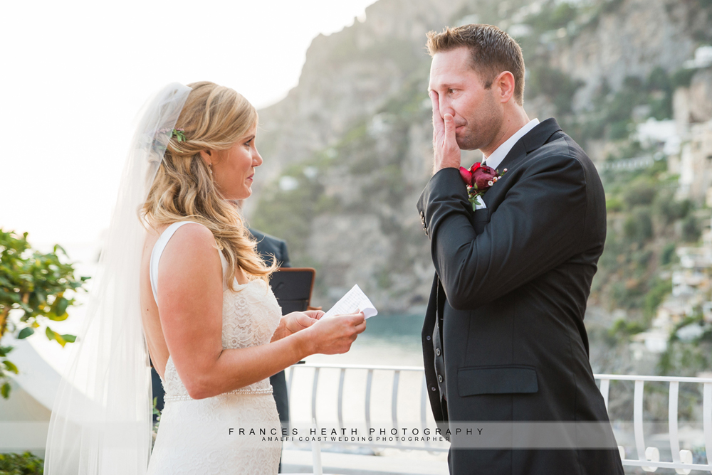 Emotional groom at wedding ceremony in Positano