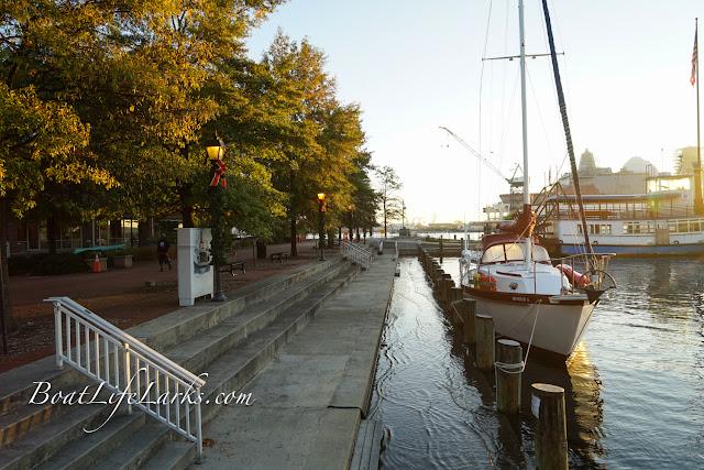 Boats at Portsmouth, VA town docks at high tide