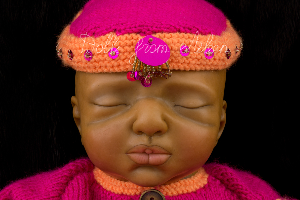 OOAK Hand Sculpted Sleeping Indian Baby Girl Doll's Face
