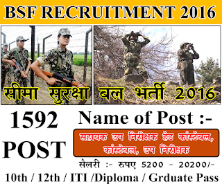 BSF 157 Head Constable, Sub Inspector Recruitment 2016