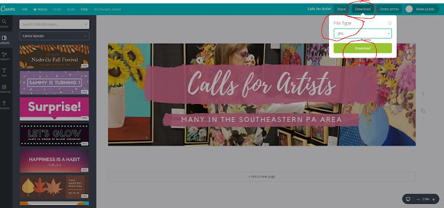 Step 10, How to use Canva, download and save, The Good Life of an Artist Blog by Merrill Weber
