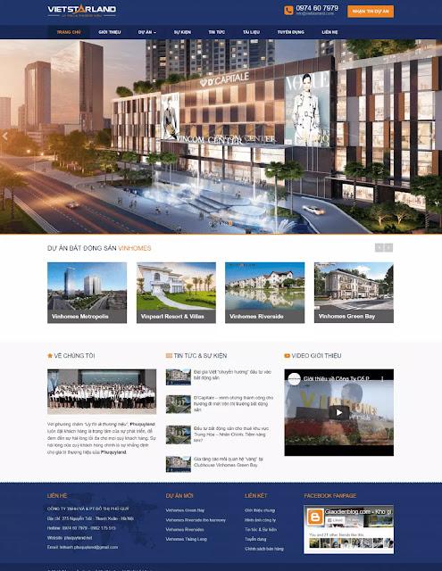 Template blogspot bất động sản Vietstarland
