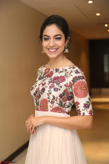Ritu Varma smiling face Cream Anarkali dress at launch of OPPO New Selfie Camera F3 ~  Exclusive 064.JPG