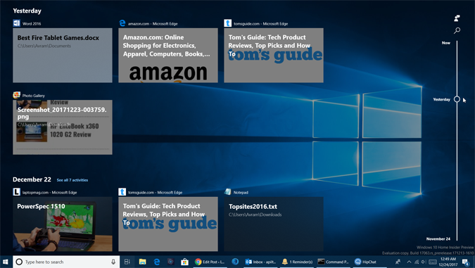 Windows Timeline Windows 10