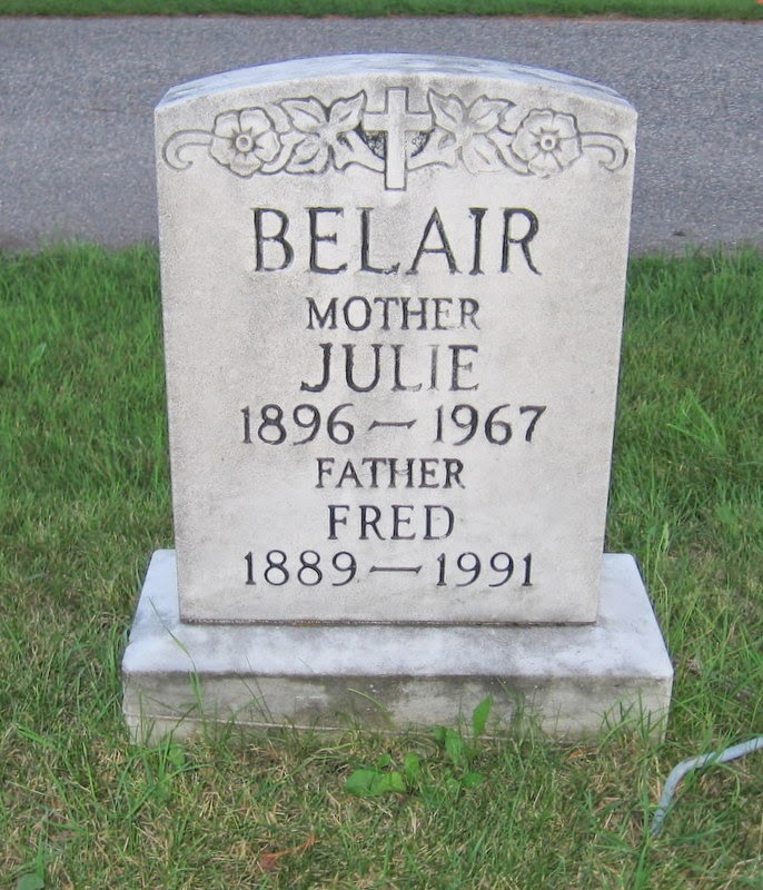 Gravemarker of Fred Belair and Julie Belair