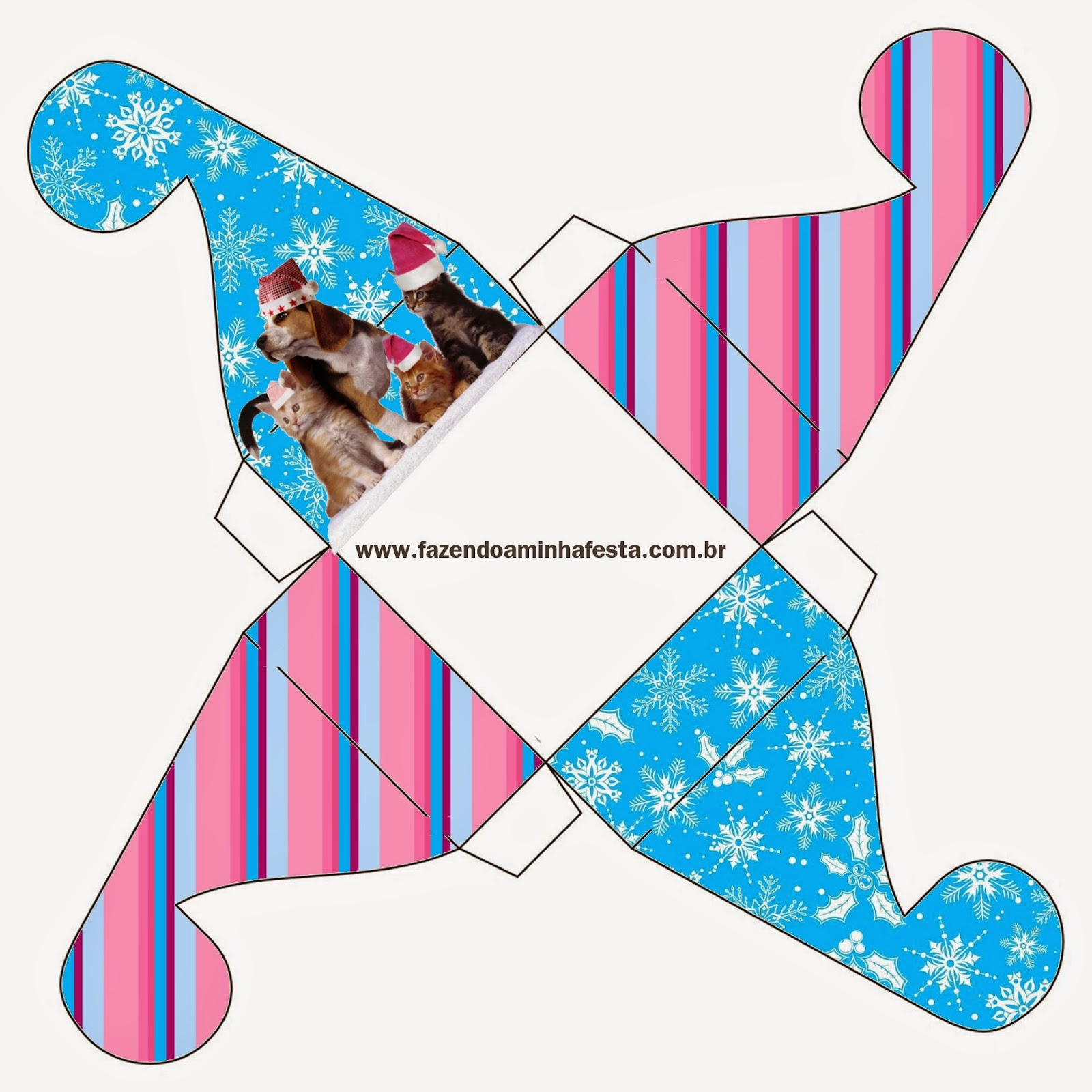 Caja para cupcakes, chocolates o golosinas de Perro y Gato en Navidad