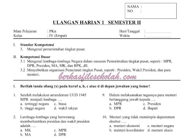 (Unduh) contoh soal sd kelas 4 (SD IV) Lengkap | Berkas File Sekolah