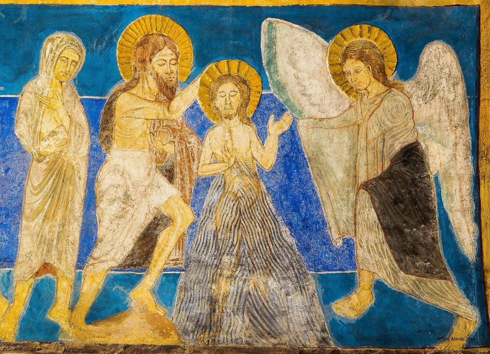 jordan, medieval, mural, john, saint, jesus, editorial, sweden, church, wall, bible, baptist, christ, painting, ultramarine, fresco, baptism, religion, art, byzantine, angle, christianity, romanesque, bjaresjo