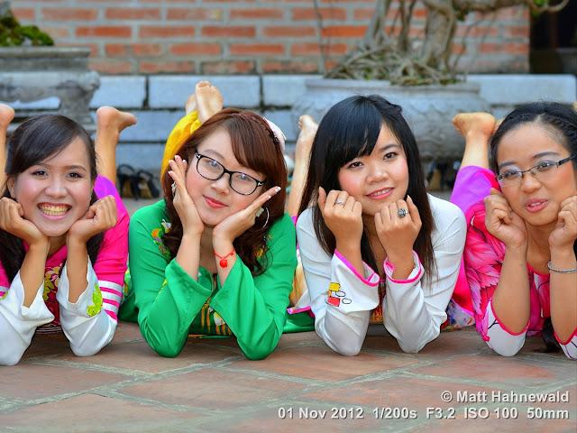 people, groupshot, street portrait, Vietnam, Hanoi, Vietnamese women, smiling, posing, áo dài, silk