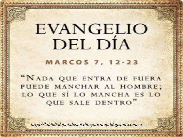 Santo Evangelio del dia de hoy - Marcos 7: 12-23