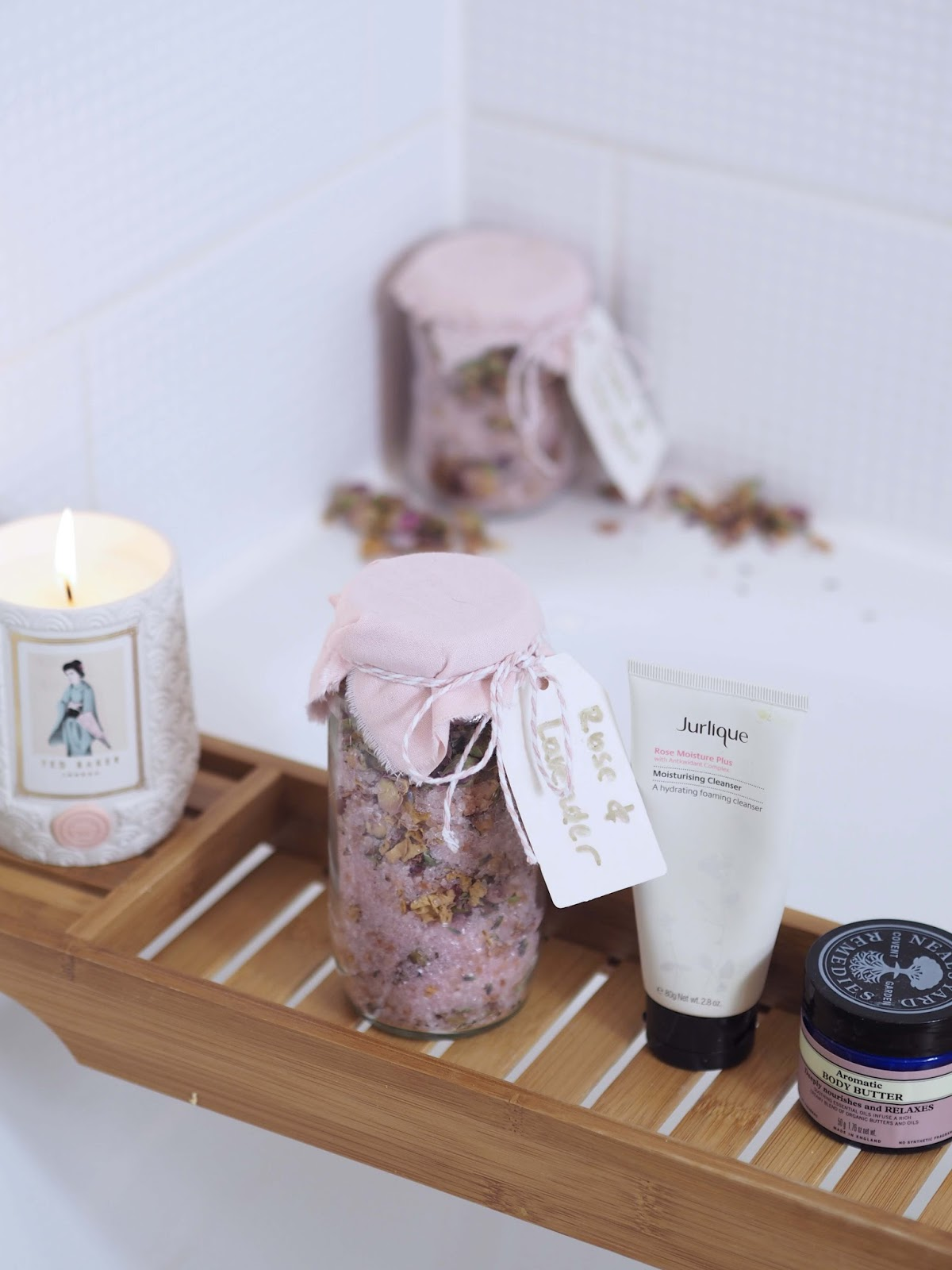 bathroom bath salts with rose and lavender