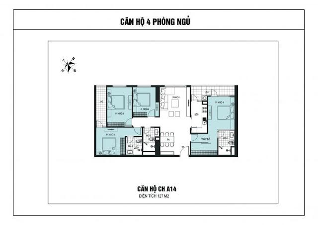 Thiết kế căn hộ 4 ngủ chung cư The Golden Armor