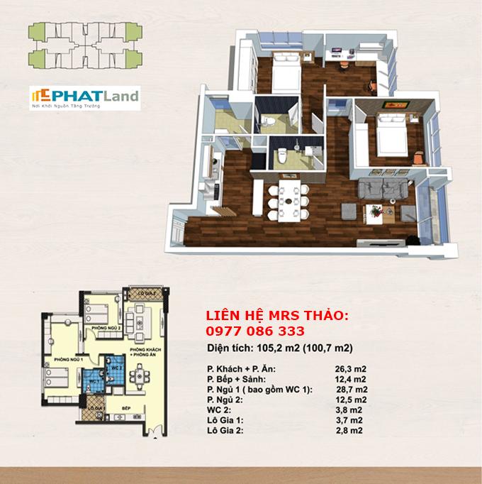 Thiết kế căn hộ 66,4 m2 - bán chung cư handi resco