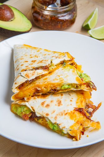Bacon Jam and Guacamole Quesadilla with Fried Egg with Bacon Jam Vinaigrette Drizzle