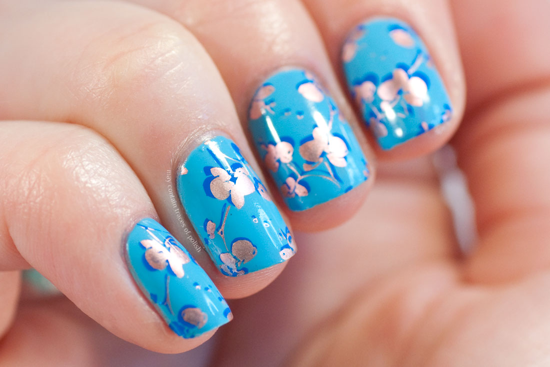 Rose Gold and Blue Flower Nails