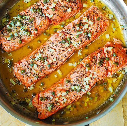 STEELHEAD TROUT WITH FLAVOURING BUTTER CITRUS CAPER SAUCE