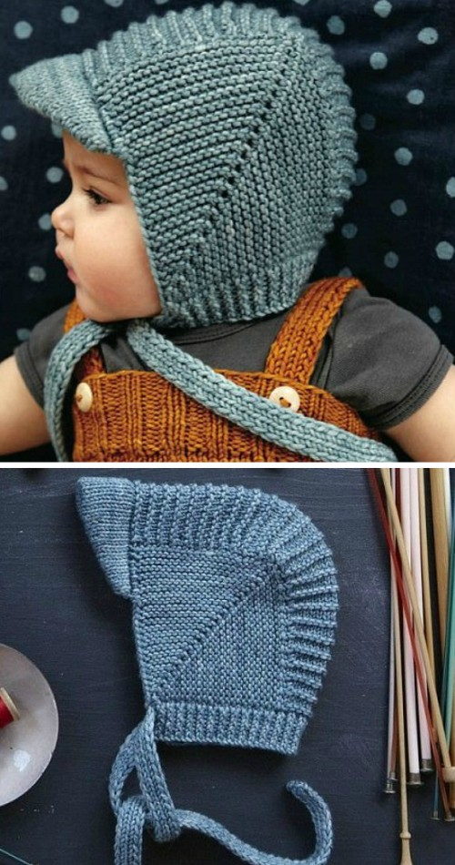 Vintage Baby Bonnet With Visor - Free Knitting Pattern