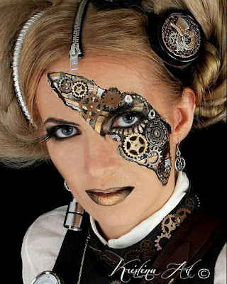 how to glue gears DIY steampunk makeup face painting