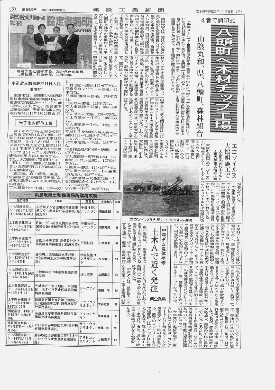 建設工業新聞にエコソイルR造成工事が掲載されました