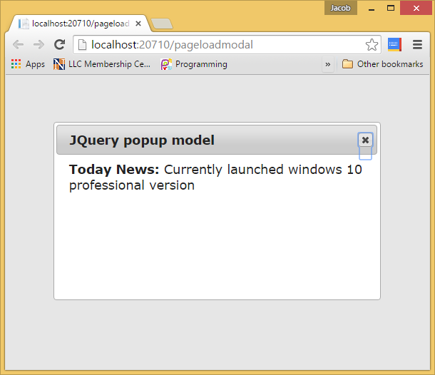 How to show popup on page load using JQuery