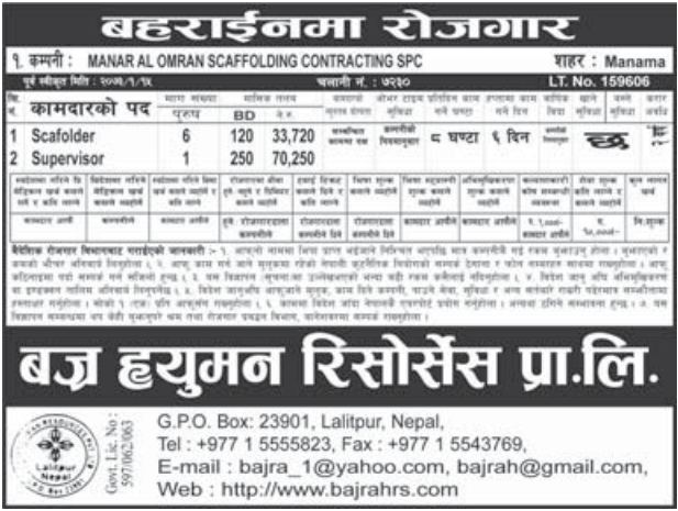 Jobs For Nepali In Bahrain, Salary -Rs.70,250/