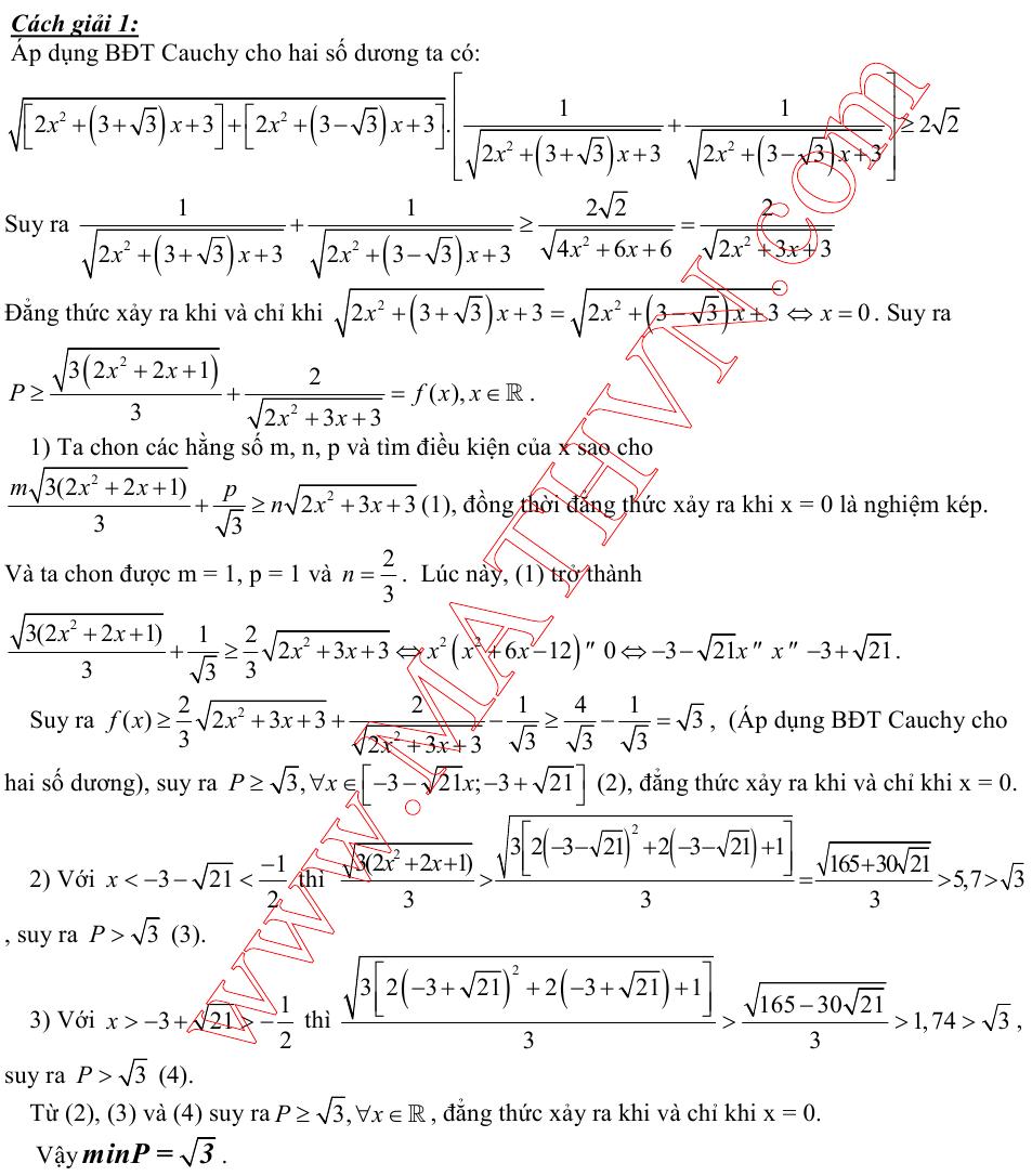 4 cách giải câu 10 trong đề minh họa môn toán