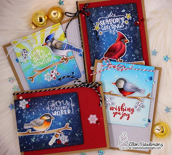Set of Winter Bird Cards by Ellen Haxelmans   Winter Birds Stamp Set by Newton's Nook Designs #newtonsnook #handmade