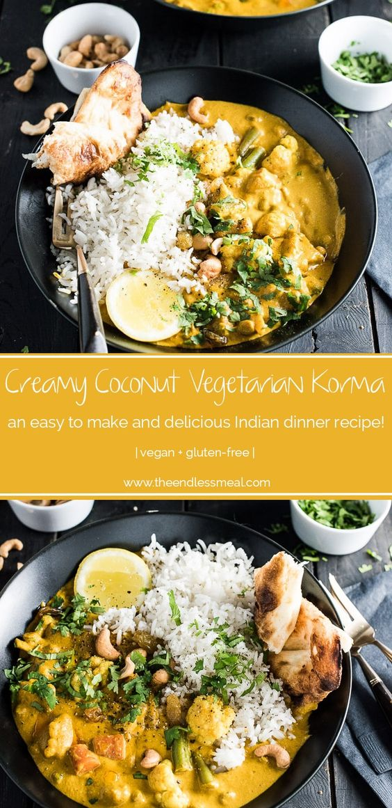 This easy to make Creamy Coconut Vegetarian Korma makes a great go-to Meatless Monday meal. It's naturally paleo and gluten-free and can easily be made vegan. Serve it with a side of rice, quinoa or cauliflower rice for a quick and delicious dinner. #theendlessmeal #meatlessmonday #curry #vegan #korma #paleo #vegetariankorma #indian #indiancurry