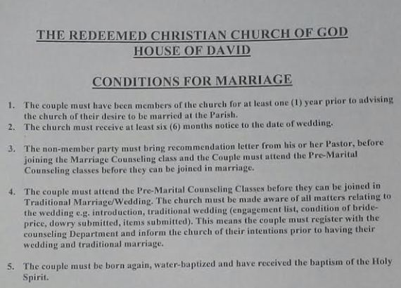 The Marriage Requirements Of A Redeemed Church House David Parish Have Got People Talking