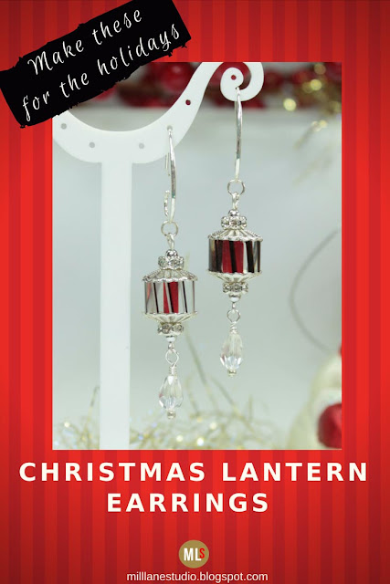 Candy cane striped lantern earrings inspiration sheet.