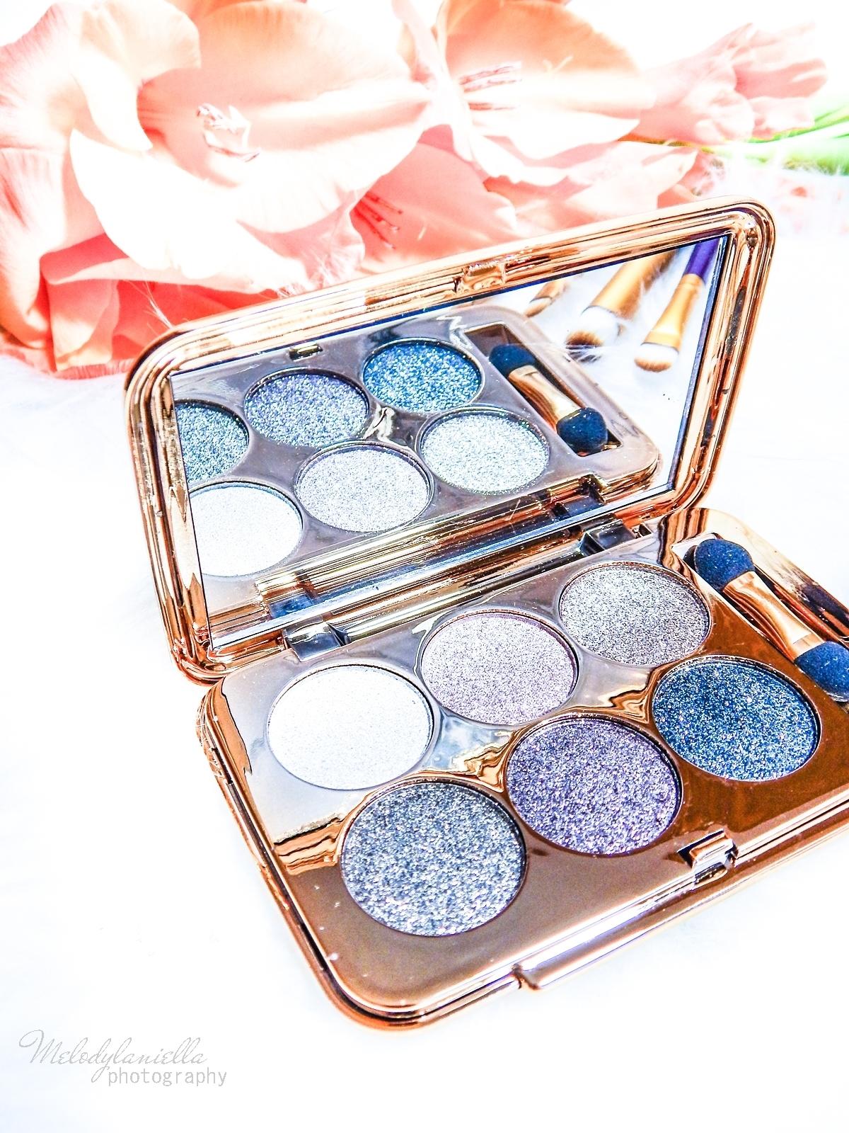 9 azjatyckie chińskie kosmetyki recenzja melodylaniella beauty paleta 6 cieni brokatowe cienie do powiek sammydress cienie do powiek ze złotem i brokatem karnawałowe kolory