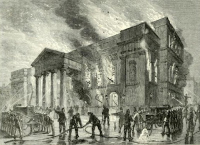 Burning of Covent Garden Theatre in 1856 from Old and New London (1873)