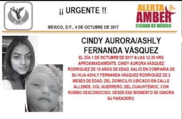Desaparecen madre de 15 años y su bebita de 2 meses en la CDMX #AlertaAmber