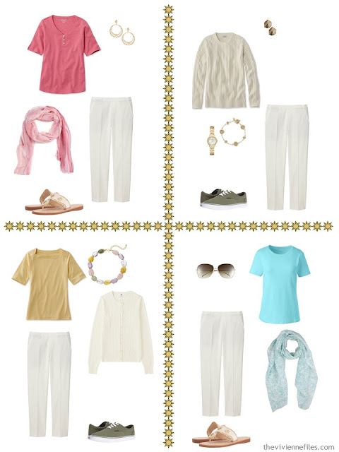 four travel capsule wardrobe outfits including ivory cropped pants