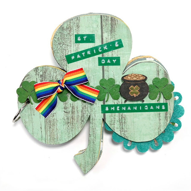 Green St. Patrick's Day Shenanigans Chipboard Shamrock Mini Album with Pot of Gold and Rainbow Ribbon