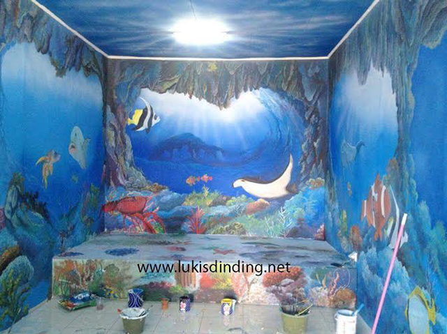 Melukis Di Dinding Dengan Tema Laut  Konsep Bawah Laut