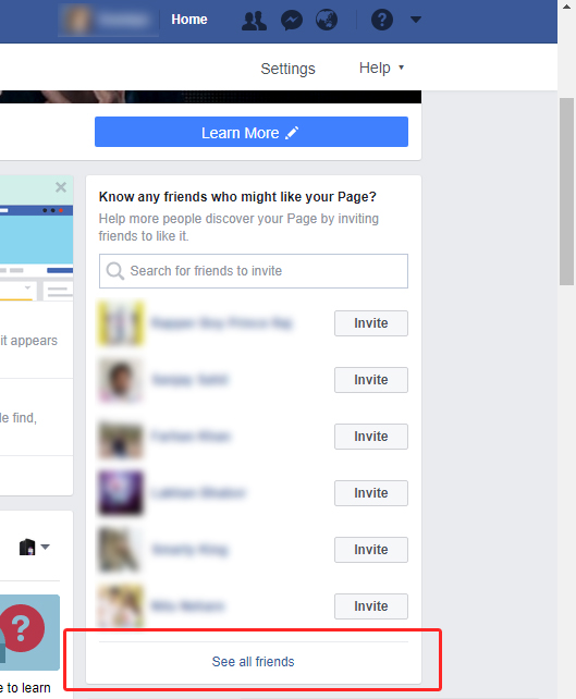 After you've open the Facebook website, navigate to your page and you will see the section where you can invite your friends from.