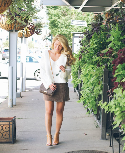 easy early fall look with cropped sweater and mini skirt