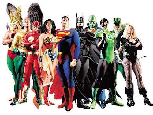 Super-heróis da Liga da Justiça, fazendo pose ao lado de Super Homem, Batman e Mulher Maravilha