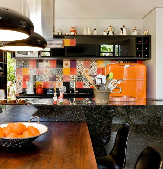 geladeira-laranja-decoração