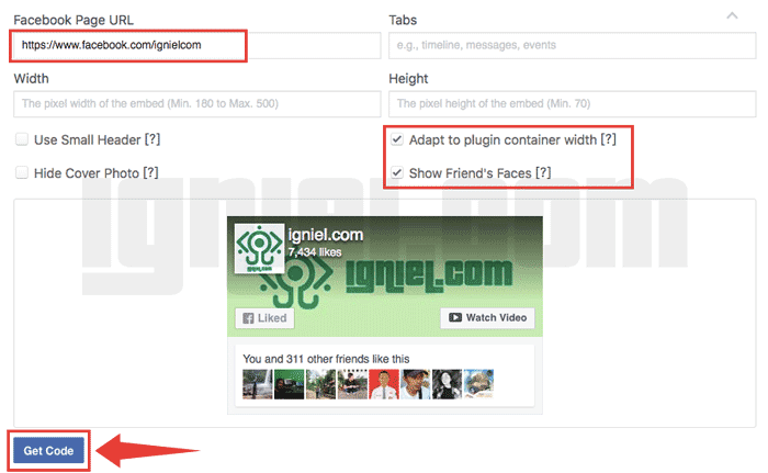 Cara Memasang Widget Page Plugin Facebook