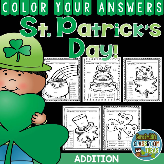 Fern Smith's Classroom Ideas St. Patrick's Day Addition Color Your Answers Printables for St. Patrick's Day available at her TeachersPayTeachers Store!